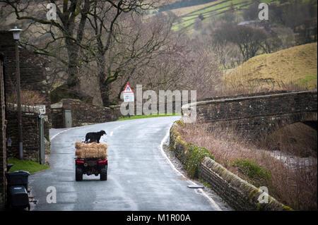 Un agriculteur et son chien de berger dans le voyage à travers Muker Yorkshire Dales National Park. Banque D'Images