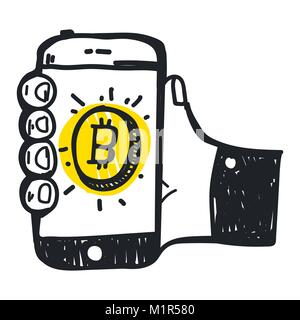 Vector illustration abstraite technologie bitcoin Banque D'Images