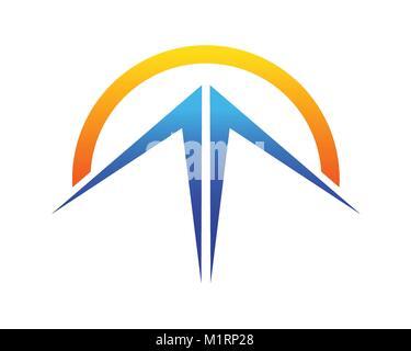 Abstract Blue Mountain Sunrise Symbole graphique vectoriel Logo Design Banque D'Images
