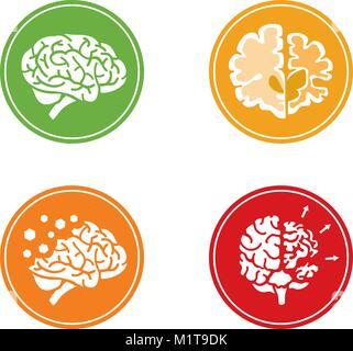 Série de télévision vector Icons avec cerveau humain et le concept de démence et d'autres problèmes de santé mentale. Banque D'Images