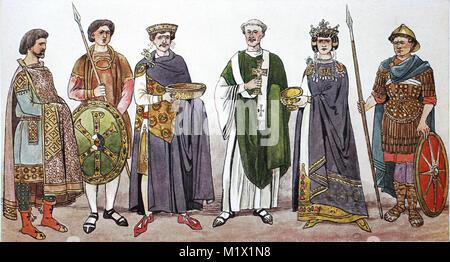 L'habillement, de la mode à la cour impériale de Byzance, 6e siècle, 3e à partir de la gauche est l'empereur Justinien Banque D'Images