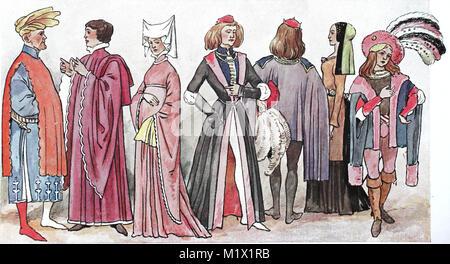 L'habillement, la mode, l'Angleterre au Moyen Âge, les costumes anglais du 15ème siècle, l'amélioration numérique Banque D'Images