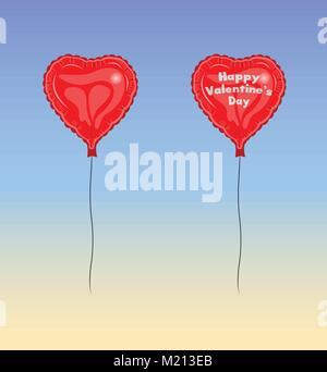 Happy Valentines Day Ballon. Les types de texte n'converti en contours et n'ont pas besoin de police.