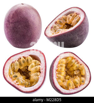Fruit de la passion isolé. Maracuya isolé sur fond blanc avec clipping path Banque D'Images