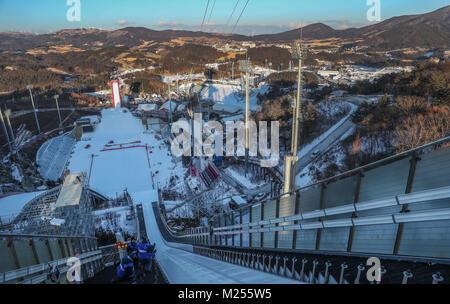 Une vue générale du haut du Tremplins au cours d'une journée d'aperçu à l'Alpensia Sports Park, l'avant de l'Jeux Banque D'Images