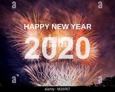 Bonne année 2020 avec Fireworks arrière-plan. Nouvel An 2020 Célébration