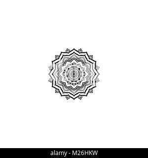 Belle déco Contour vectoriel Monochrome Mandala Banque D'Images