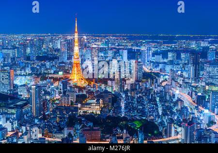 Toits de Tokyo Tokyo Tower City Lights Banque D'Images