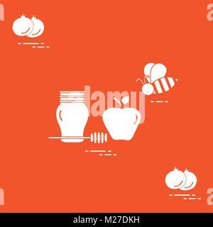 Apple en miel de Roch Hachana, de grenade, de l'apiculture. La nourriture traditionnelle juive et de symboles. Carte Banque D'Images
