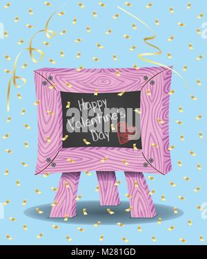 Valentines Day Message sur tableau noir et de confettis. Tableau, papiers confettis et l'arrière-plan sont dans des couches différentes. Les types de texte n'a pas besoin d'un