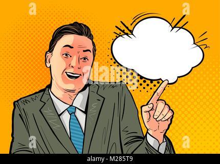 Happy businessman ou patron. Concept d'entreprise. Cartoon vector illustration, tirée dans pop art retro style bande Banque D'Images