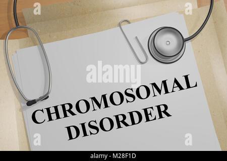 3D illustration de maladie chromosomique titre sur un document médical Banque D'Images