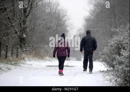 Rivington, jardins, Bolton, Lancashire, UK. 6 Février, 2018. Météo britannique. Scènes d'hiver à Rivington, jardins, Banque D'Images