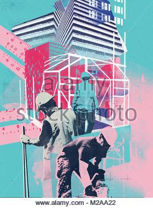 Collage d'ouvriers du bâtiment travaillant sur chantier Banque D'Images