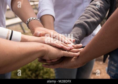 Business team work, pile de mains Banque D'Images