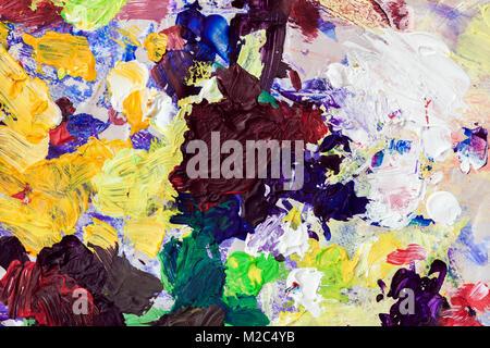 Points lumineux multicolores de couleurs sur ma palette, la texture de fond de la création moderne Banque D'Images