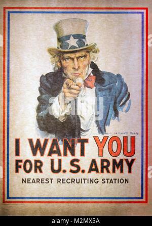 WASHINGTON D.C., États-Unis - 11 MAI 2016: Oncle Sam je veux que vous pour l'armée américaine de l'Affiche de recrutement Banque D'Images