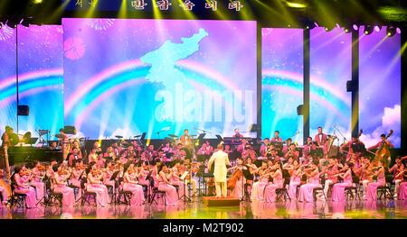 PyeongChang. 9 Février, 2018. Art Troupe Samjiyon, Feb 8, 2018: Dans cette photo publiée par le ministère de la Banque D'Images