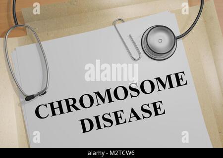 3D illustration de la maladie chromosomique titre sur un document médical Banque D'Images