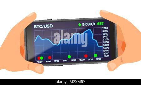 Les graphiques Web Application Bitcoin vecteur. Hand Holding Smartphone. Échange Bitcoin App. L'argent numérique. Banque D'Images