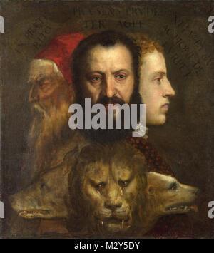 Titien, l'Allégorie de l'âge de régis par la prudence (ch. 1565-1570) est pensé pour représenter (de gauche) Titien, Banque D'Images