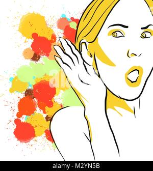 Gossip colorés à l'écoute de croquis. Hand Drawn Vector Illustration, Splatter Color isolé sur fond blanc. Creative Banque D'Images