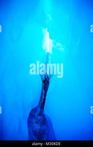 Dans la glace très bluie une grotte de glace dans le Glacier Fox, île du Sud, Nouvelle-Zélande Banque D'Images