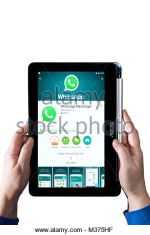 Femme tenant un Chromebook avec Whatsapp Messenger Asus, l'application de messagerie instantanée, sur l'écran. Dorset, Banque D'Images