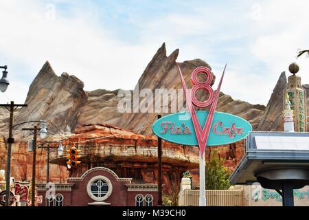 Flo's Café dans les voitures Land Disneyland en Californie Banque D'Images