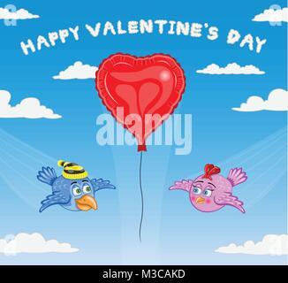 Les oiseaux de Jour de Valentines. Les types de texte n'converti en contours et n'ont pas besoin de n'importe quelle police