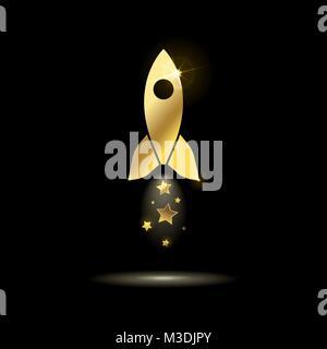 Or l'icône fusée spatiale avec des étoiles sur un fond noir Banque D'Images