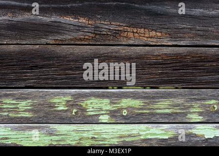 Gros plan du parement de planches weathered wood texture sur vieux hangar rustique Banque D'Images