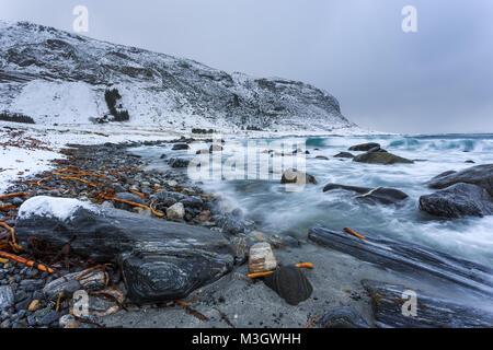 Côte Rocheuse à Alnes, petit village sur le Godoya île près de Alesund. Paysage d'hiver. La Norvège. Banque D'Images