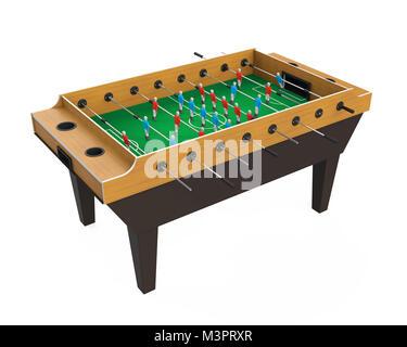 Soccer Jeu de baby-foot de table isolé Banque D'Images