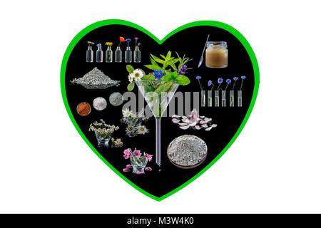 Image conceptuelle Alternative: phytothérapie en forme de coeur fond noir sur blanc phytothérapie concept Banque D'Images