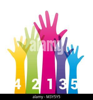 Les mains en couleur avec des nombres Banque D'Images
