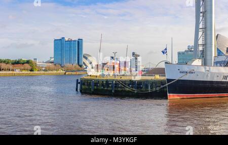 Glasgow, Ecosse, Royaume-Uni. 13 Février, 2018. Météo britannique. Sunshine de Glasgow avec le PS à aubes et la Banque D'Images