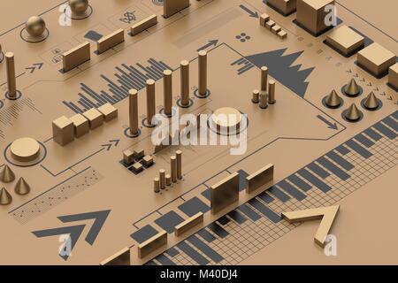 Infographie 3d arrière-plan, concept d'entreprise. Illustration 3D
