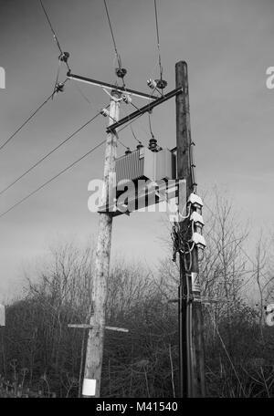 Un boîtier d'alimentation électrique sur un pylône électrique. La photo a été prise dans les régions rurales de Banque D'Images