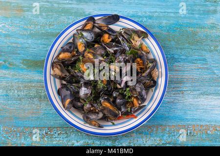 Les moules cuites à la vapeur dans le vin blanc avec des fines herbes, des fruits de mer. Servi en plaque blanche, Banque D'Images