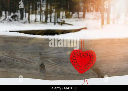 Coeurs rouges sur la branche de l'arbre enneigé en hiver. Vacances happy valentines day celebration heart love concept. Banque D'Images
