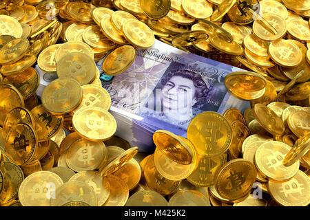 Pile de GBP Livre sterling note entouré par des Bitcoins Banque D'Images
