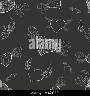 Ailes de contour sur un arrière-plan de graphite de Valentines Banque D'Images