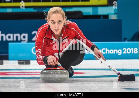 Gangneung, Corée du Sud. Feb 14, 2018. Le Danemark contre la Suède en curling au centre de curling Gangneung à Gangneung, Banque D'Images