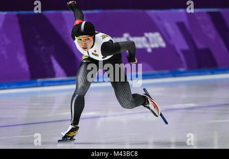 Pyeongchang, Corée du Sud. Feb 14, 2018. Nao Kodaira du Japon fait concurrence au cours de la women's 1 000 m en Banque D'Images