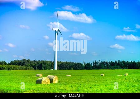 Scène d'été de l'éolienne au milieu de prairie pleine de bottes de paille, à côté de la forêt, au cours de magnifique Banque D'Images