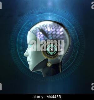 Le rendu 3D de la tête d'une femme robot avec glowing hi tech cyber intelligence artificielle ia cerveau sur fond Banque D'Images