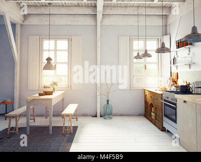 Cuisine intérieur style vintage. Le rendu 3D concept design Banque D'Images