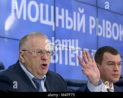 Moscou, Russie. 16 Février, 2018. Moscou, Russie - 16 février 2018: Le chef du Parti démocrate libéral russe Vladimir Banque D'Images