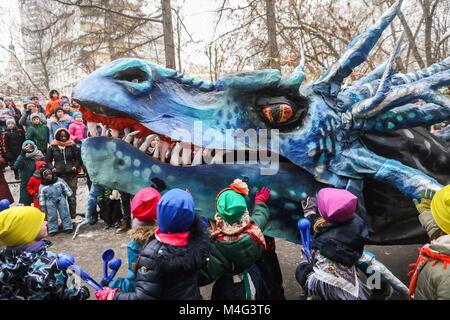 Moscou, Russie. 16 Février, 2018. Moscou, Russie - 16 février 2018: Un Maslenitsa (Le Mardi Gras) célébration à Banque D'Images